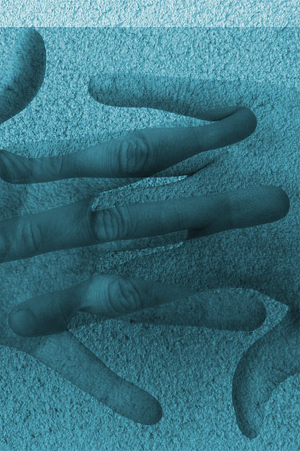Blue image of two overlapping hands.