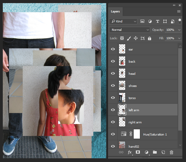 Screencapture showing all images needed for Exercise 3 loaded into one Photoshop® file as separate layers.