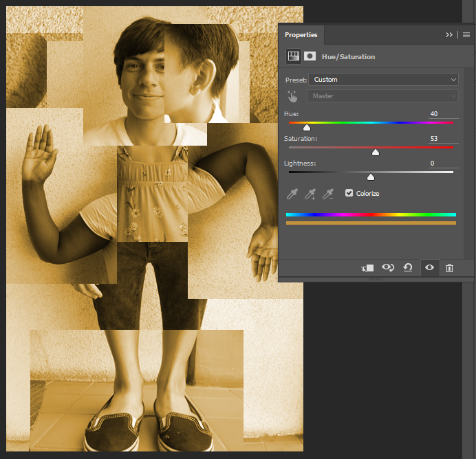 Screen capture showing results of Hue/Saturation Adjustment Layer