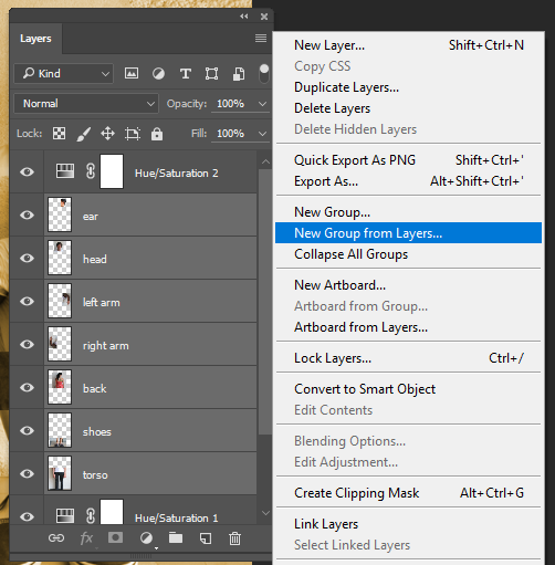 "Screencapture of the Photoshop® Layers Panel's menu, with ""New Group from Layers..."" selected."