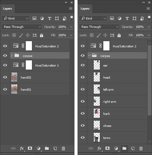 "Screencapture of the Photoshop® Layers Panel showing the ""corpse"" layer group collapsed and expanded."