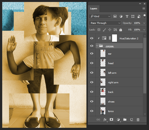Screenshot showing result of clipping an adjustment layer into a layer group.