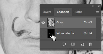 "Screen capture showing Channels panel with mouse pointer positioned over the ""left mustache"" channel and the ""Load As Selection"" cursor displayed."