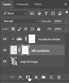 Screen capture showing location of the Add Layer Mask button in the Layers panel.