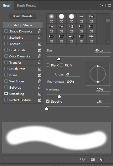 Screen capture of Brush panel showing our brush settings.