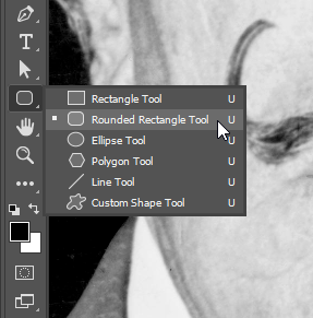 Selecting the Rounded Rectangle Tool from the Tools panel.