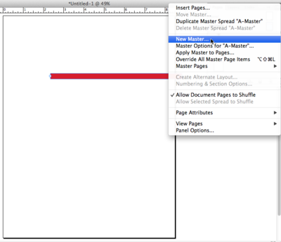 Click on the pull-down menu at the top right corner of the Pages panel, and choose New Master