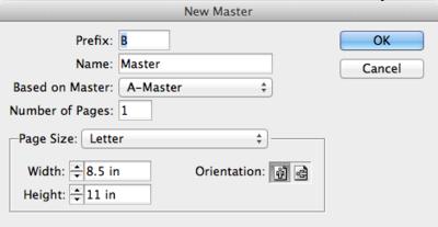 New Master dialog box
