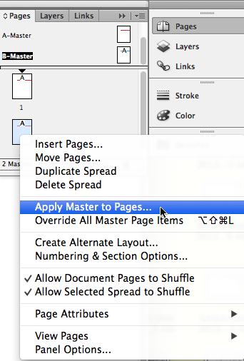 Apply the B-Master page to page 2 by right-clicking or Control-clicking on the page 2 icon