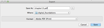 Export dialog box. Choose File > Export and then chose Adobe PDF (Print)