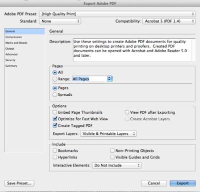 Export Adobe PDF dialog box