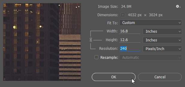 Screen capture showing the Photoshop® Image Size dialog with the Resolution value set to 240 Pixels/Inch and the Resample checkbox unchecked.