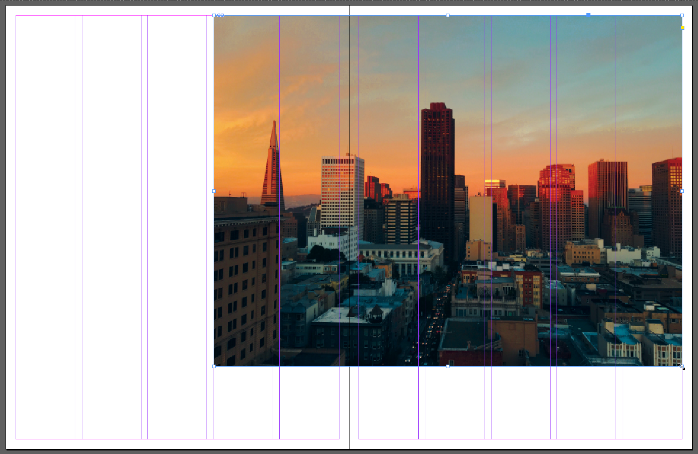 Screen capture showing a photo of a city skyline placed into a two-page spread layout in InDesign. The photo is 7 columns wide and positioned on the right side of the spread, leaving 3 columns of space on the left side of the spread.