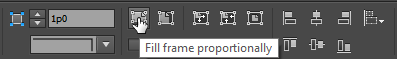 Screen capture showing the Fill Frame Proportionally button's location in the InDesign® Control Bar
