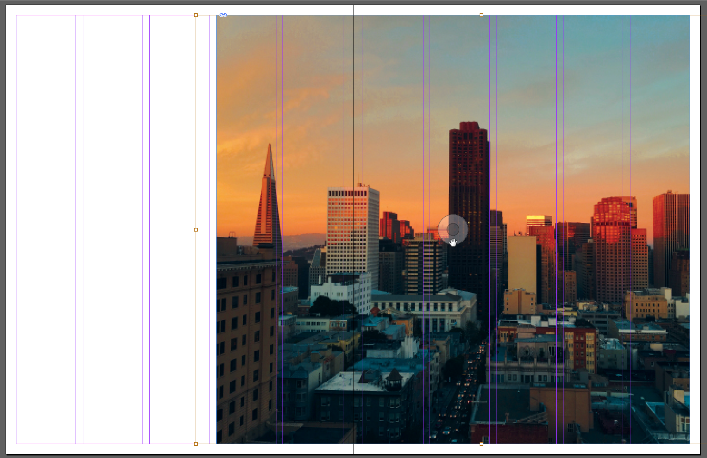 Screen capture showing photo after scaling and position adjustment within its image frame. The image fills the frame and the tallest building in the photo is positioned at about the center of the image frame.