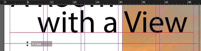 Screen capture showing a horizontal guide being positioned at the 17p6 vertical ruler mark of the page layout.