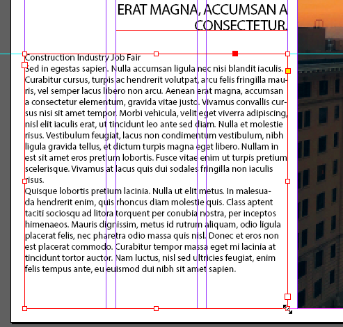 Screen capture showing a text frame containing text from the provided bottom_paragraph.txt file. The frame's top is aligned with a horizontal guide placed at 37p0 and the frame spans the three left columns in the page spread.
