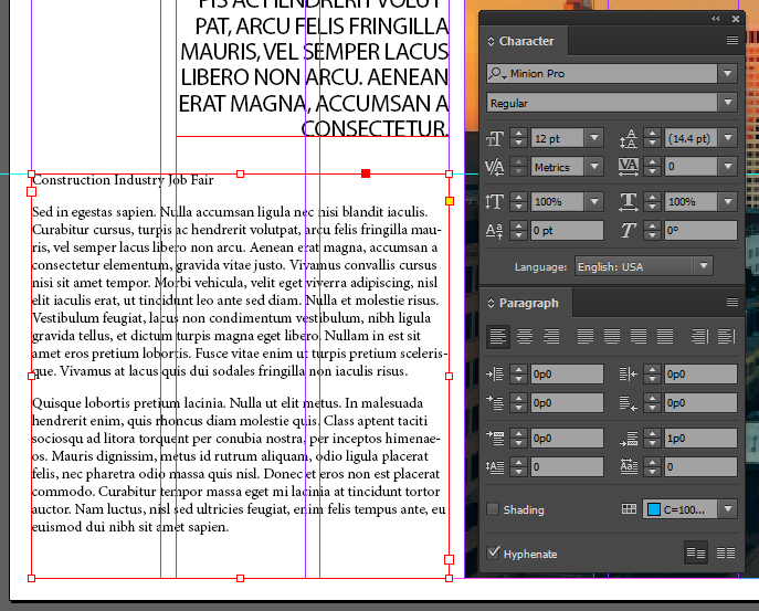 Screen capture showing the bottom paragraph text frame after setting the type specifications given in this step.
