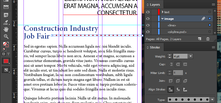 "Screen capture showing a dotted red line placed next to the words ""Job Fair"". The InDesign®  Layers panel is also shown, with the line object located in the ""image"" layer created in a previous exercise in this chapter."