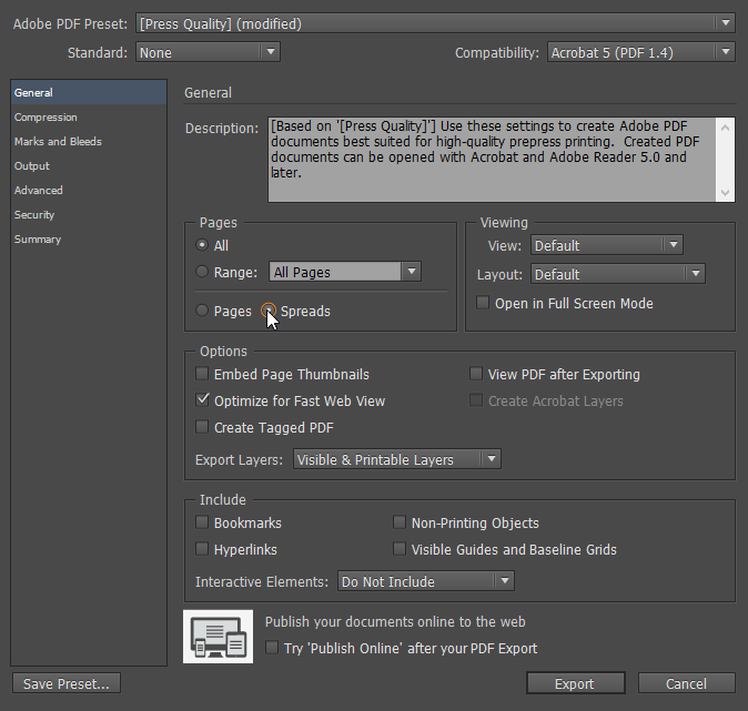 "Screen capture showing the InDesign® PDF Export dialog. The mouse pointer is clicking the radio button for ""Spreads"" to make sure that the layout is set up properly in the PDF."