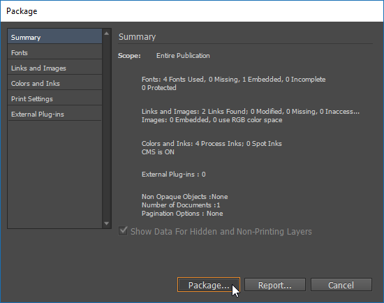"Screen capture of the InDesign® Package dialog box. A mouse pointer in the screen capture is clicking the ""Package..."" button."