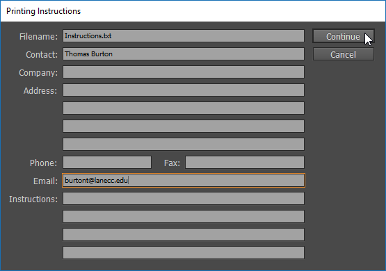 Screen capture showing the Printing Instructions dialog box with information entered into the Contact and Email fields.