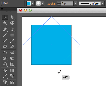 Example of using the Rotate tool