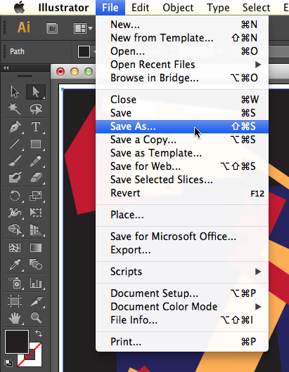 "Location of ""Save As"" command from the Menu bar > File > Save As"