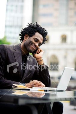 iStockphoto.com photo of man on cell phone