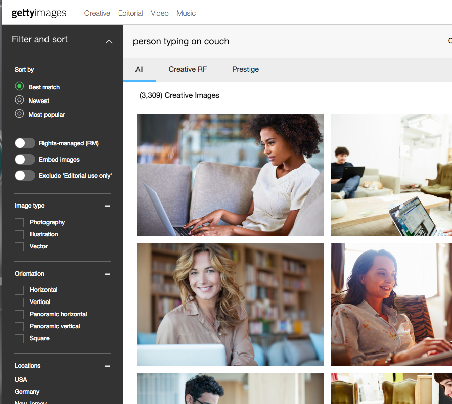 GettyImages.com search page.