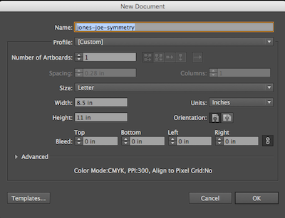 Illustrator® New Document dialog box