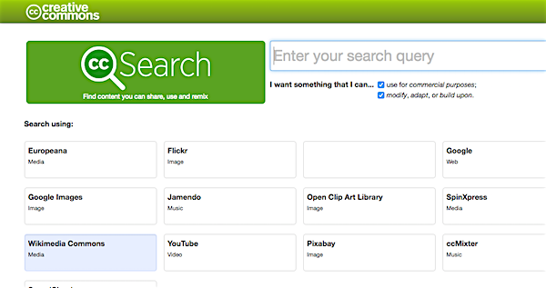 Creative Commons search engine webpage