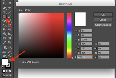 Close up of the Rectangular Shape tool and the Color Picker locations
