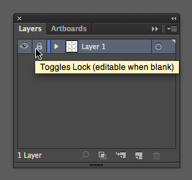 Close up of Layers panel and the Toggle lock icon