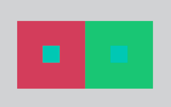 two small squares look like they are different colors when placed on different colored backgrounds