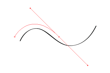 Setting the second anchor point to create the curve