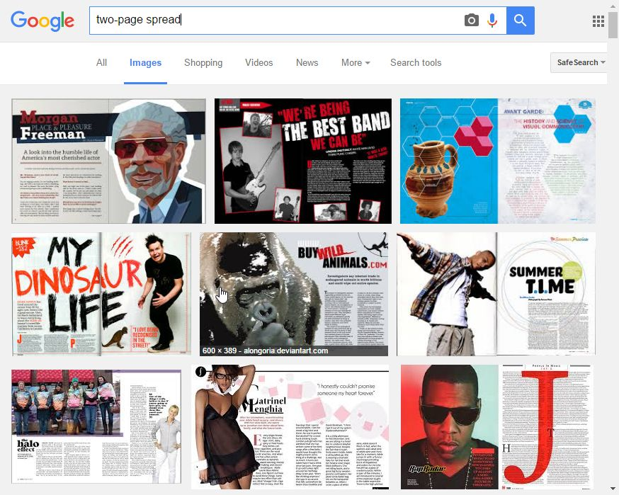 "Screen capture of Google image results for searching ""two-page spread"""