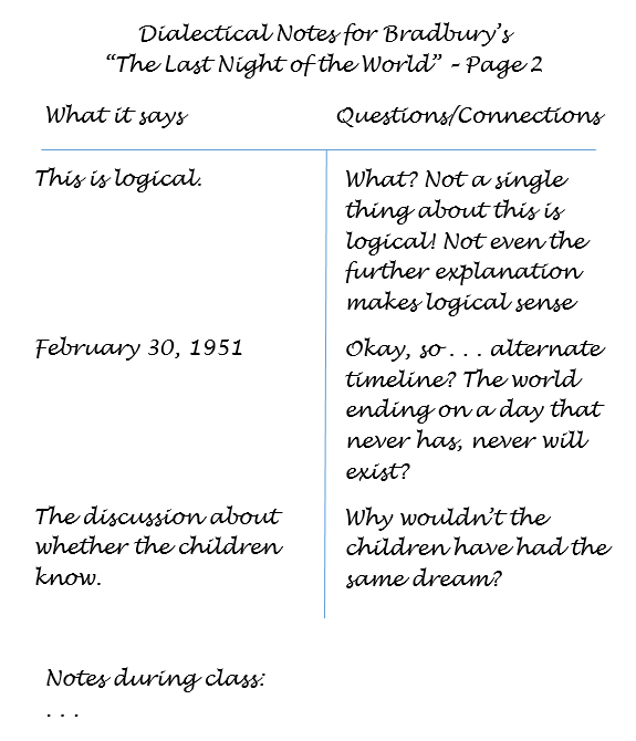 "second page of an example of a student's dialectical notes for Bradbury's story, ""The Lat Night of the World""; shows thoughts about what the text says on the left side of the page and questions or connections made by the student on the right"