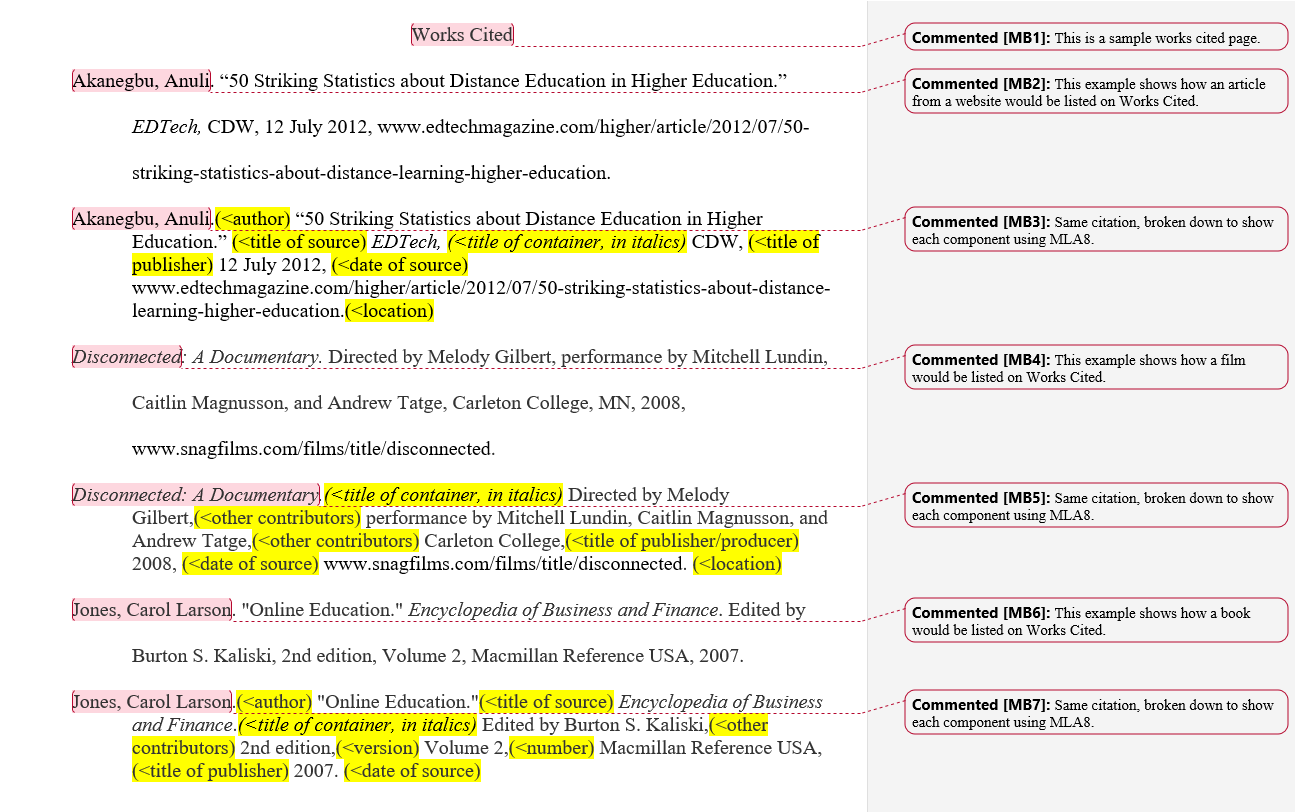 example of work cited page