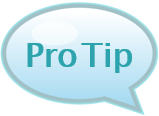"words ""pro tip"" inside a speech bubble"