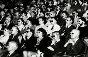 a 1950's or 60's era movie audience with 3D glasses