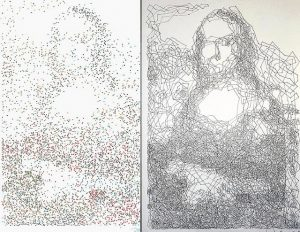 "a ""connect the dots"" version of The Mona Lisa"