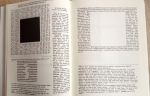 pages from Mark Z. Danielewski's novel House of Leaves, which demonstrates the creative arrangement of text on a page