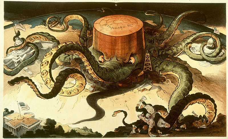 The petroleum trust, Standard Oil, depicted as a giant octopus, wrapping its tentacles around other industries and government bodies