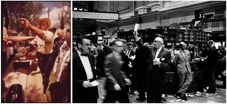 Two images: An auctioneer in a cowboy hat signalling bidders on left. Brokers in the New York Stock Exchange, circa 1963, on right.