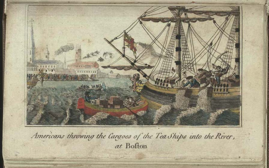 An 18th century engraving depicting the Boston Tea Party, in which crates of tea are being thrown into the river