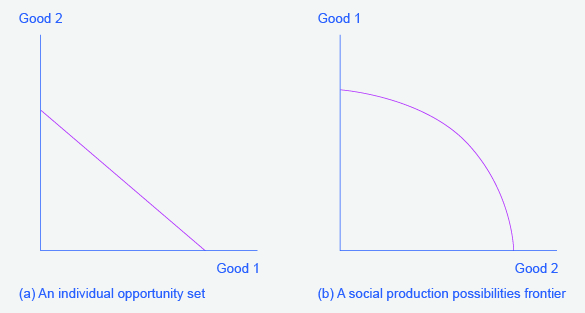 """Two graphs will occur frequently throughout the text. They represent the possible outcomes of constraints/production of goods. The graph on the left has """"Good 2"""" along the y-axis and """"Good 1"""" along the x-axis. The graph on the right has """"Good 1"""" along the y-axis and """"Good 2"""" along the x-axis."""