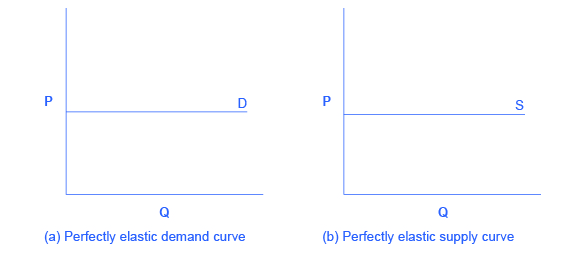 Two graphs, side by side, show that perfectly elastic demand and perfectly elastic supply are both straight, horizontal lines.