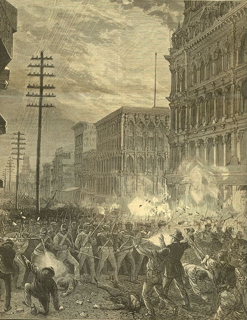 Etching of national guard soldiers firing on strikers in the streets of Baltimore