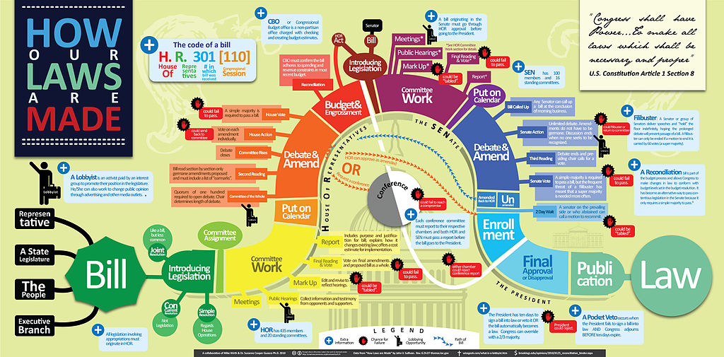 colorful and complex infographic traces process from bill to law